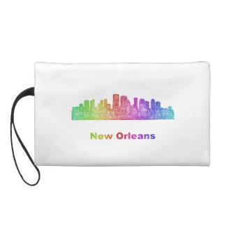 Rainbow New Orleans skyline Wristlet