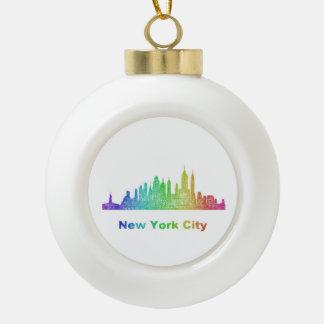 Rainbow New York City skyline Ceramic Ball Ornament