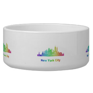 Rainbow New York City skyline Dog Bowls