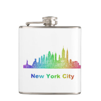 Rainbow New York City skyline Flask