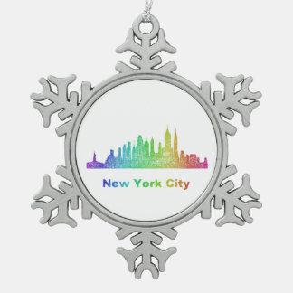 Rainbow New York City skyline Pewter Snowflake Ornament