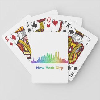 Rainbow New York City skyline Playing Cards