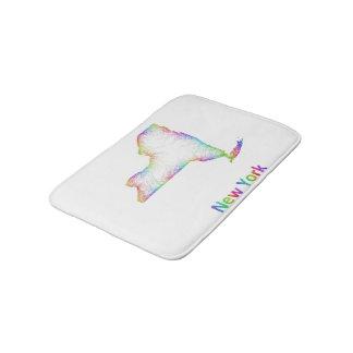 Rainbow New York map Bathroom Mat