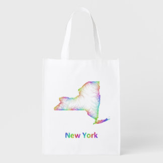 Rainbow New York map Grocery Bag