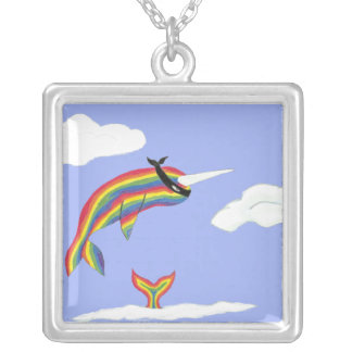 Rainbow Ninja Narwhal Silver Plated Necklace