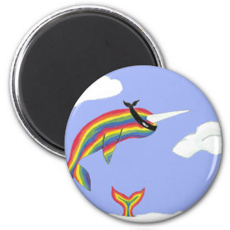 Rainbow Ninja Narwhal That Flies 2 Inch Round Magnet