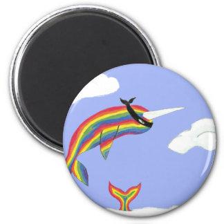 Rainbow Ninja Narwhal That Flies 2 Inch Round Magnet