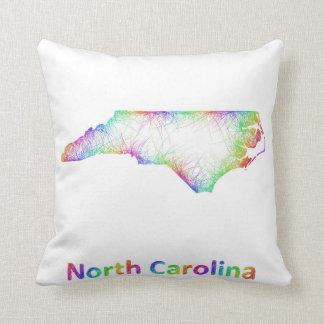 Rainbow North Carolina map Throw Pillow