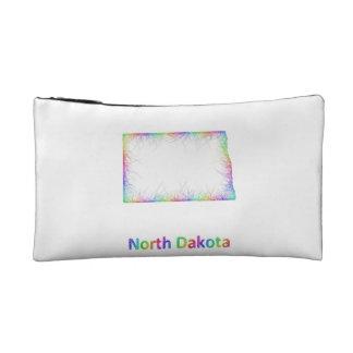 Rainbow North Dakota map Makeup Bag