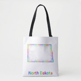 Rainbow North Dakota map Tote Bag