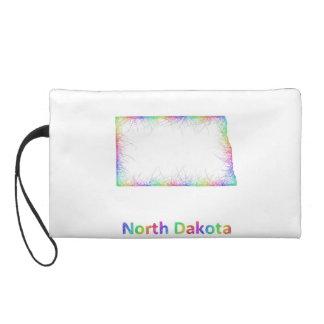 Rainbow North Dakota map Wristlet Purses