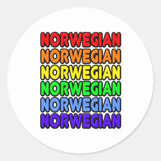 Rainbow Norwegian Classic Round Sticker