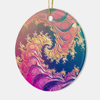 Rainbow Octopus Tentacles in a Fractal Spiral Ceramic Ornament