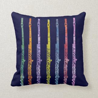 Rainbow of Flutes Throw Pillow