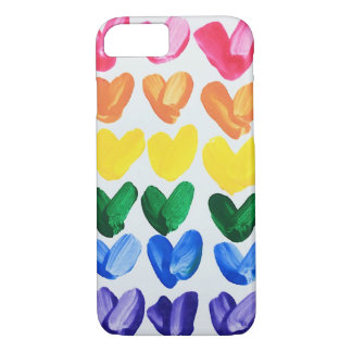 Rainbow of Love - Fun Colorful Hand Painted Hearts iPhone 8/7 Case