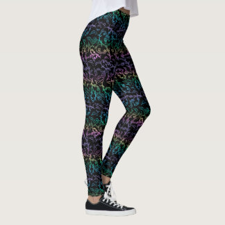 Rainbow of Music Noes and Clefs on Black Leggings