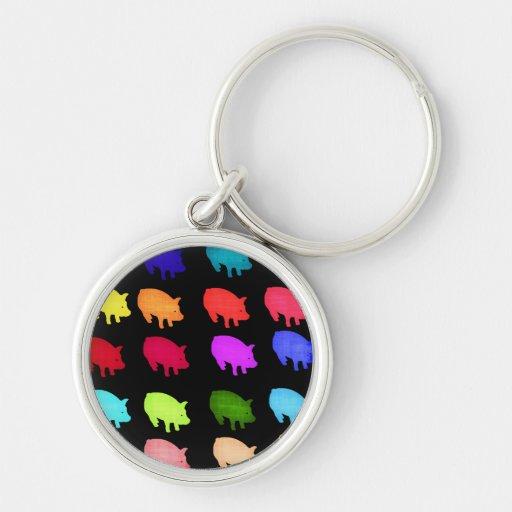 Rainbow Of Piggies Keychains