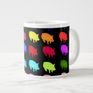 Rainbow Of Piggies Large Coffee Mug