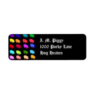 Rainbow Of Piggies Return Address Label