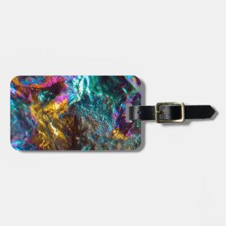 Rainbow Oil Slick Crystal Rock Luggage Tag
