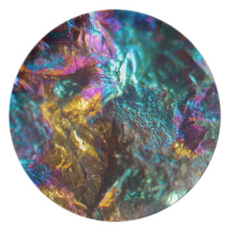 Rainbow Oil Slick Crystal Rock Party Plates