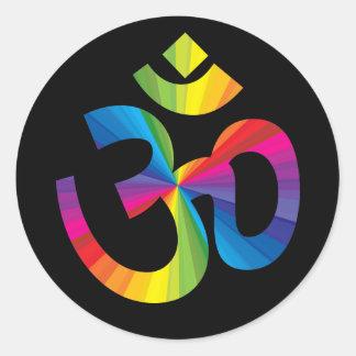 Rainbow Om Sign Round Sticker