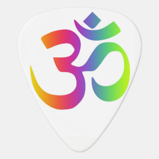 Rainbow Om Symbol Multi Color Meditation ombre Guitar Pick