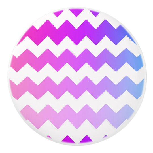 Rainbow Ombre Chevron Zigzag Pattern Ceramic Knob