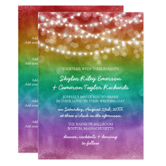 Rainbow Ombre String Lights Details Gay Wedding Card