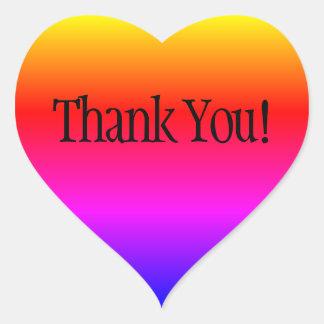 Rainbow Ombre Thank You Heart Sticker