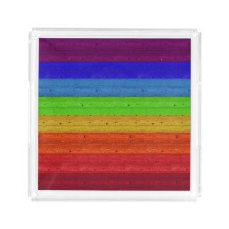 Rainbow on Wood Acrylic Tray
