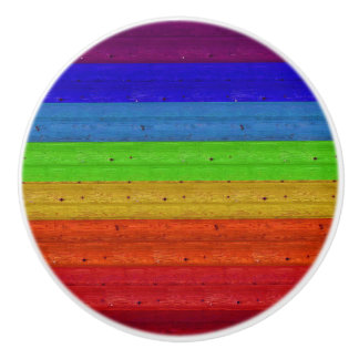 Rainbow on Wood Ceramic Knob