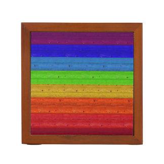 Rainbow on Wood Desk Organizer