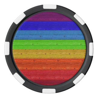 Rainbow on Wood Poker Chips
