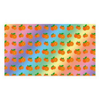 Rainbow oranges pattern business card templates