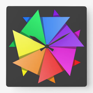 rainbow origami square wall clock