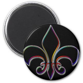 Rainbow Outlined Black Fleur de Lis 2 Inch Round Magnet