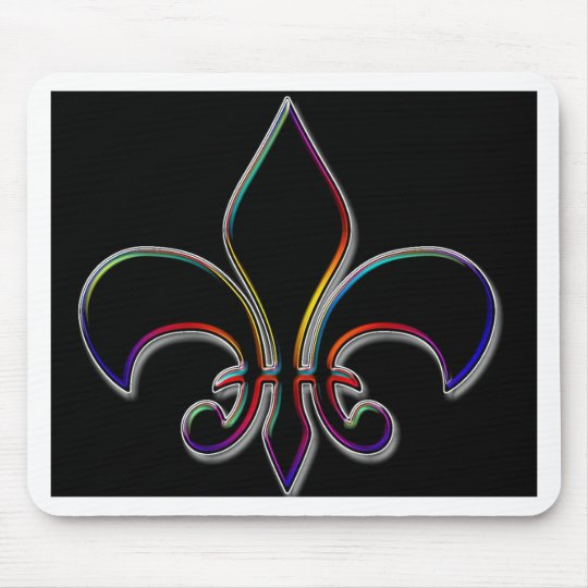 Rainbow Outlined Black Fleur de Lis Mouse Pad