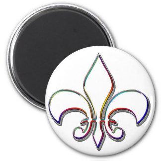Rainbow Outlined Fleur de Lis 2 Inch Round Magnet