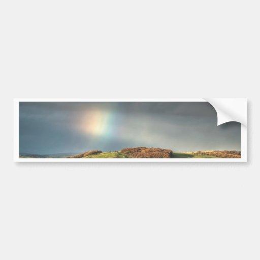 Rainbow over a Lancashire hillside Bumper Sticker