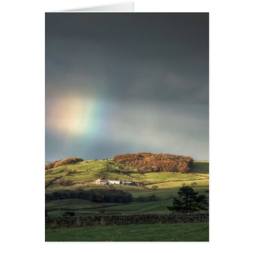 Rainbow over a Lancashire hillside Greeting Cards