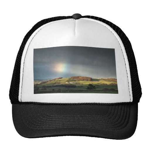 Rainbow over a Lancashire hillside Mesh Hat
