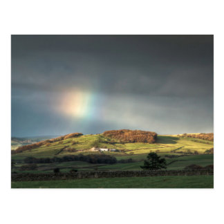 Rainbow over a Lancashire hillside Postcard