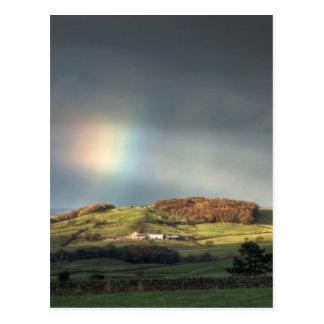Rainbow over a Lancashire hillside Postcard