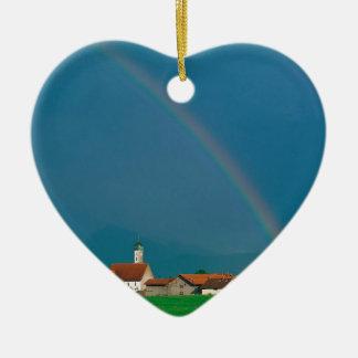 Rainbow Over Bavaria Germany Ceramic Heart Ornament