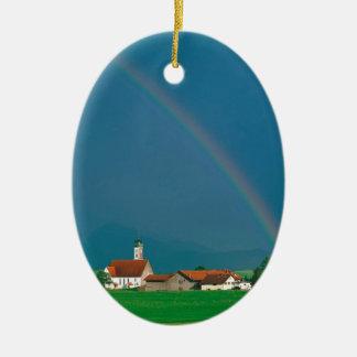 Rainbow Over Bavaria Germany Ceramic Oval Ornament