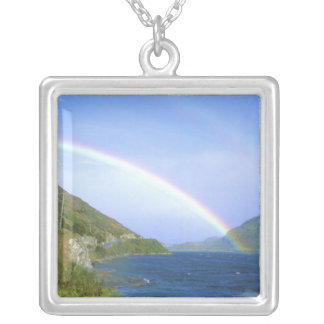 Rainbow over Hawea Lake, South Island, New Square Pendant Necklace