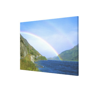 Rainbow over Hawea Lake, South Island, New Stretched Canvas Print