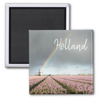 Rainbow over hyacinths and a windmill in Holland Magnet