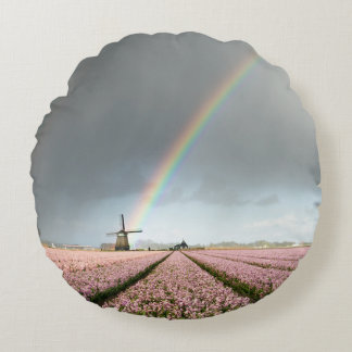 Rainbow over hyacinths and a windmill in Holland Round Pillow